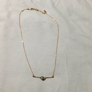 Anthropologie Gold Chain Single Stone Necklace